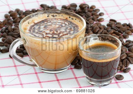 Two Coffee Cup And Beans