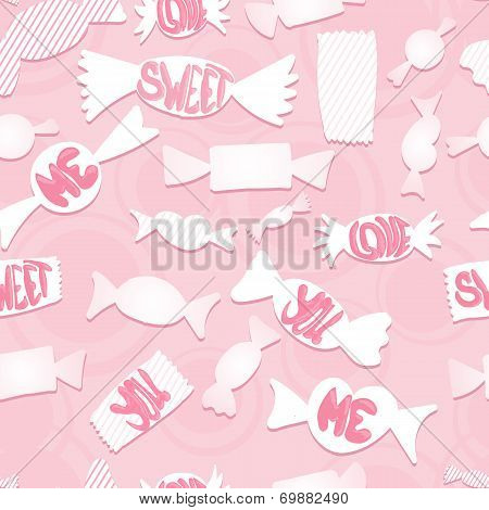 Sweets with love ords.Seamless background.