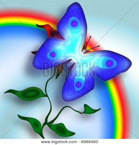 Tender blue butterfly on the flower over rainbow sky bright illustration poster