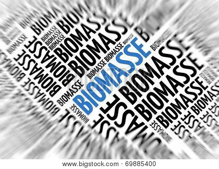 German marketing background - Biomasse (Biomass) - blur and focus