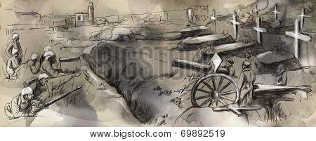 The Fighting In The Trenches - Hand Drawn Illustration