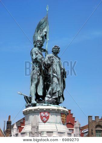 Statue of Jan Breydel, Pieter de Coninck in Bruges