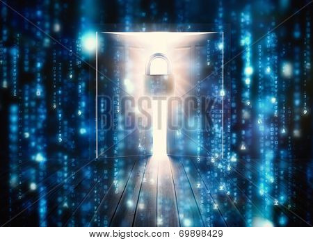 Lines of blue blurred letters falling against padlock guarding door to bright light poster