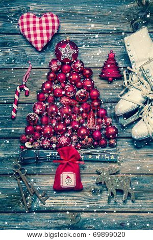 Christmas Decoraion In Red And White On Wood In Rustic Vintage Style.