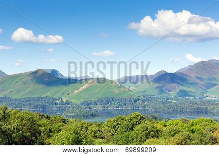 View from Castlerigg Hall Keswick Lake District Cumbria to Derwent Water and Catbells mountains