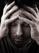 Closeup portrait of sad depressed and lonely man poster
