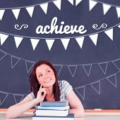The word achieve and bunting against student thinking in classroom poster