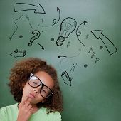 Cute pupil thinking against idea doodle with arrows poster