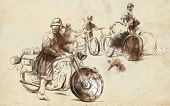 Vintage picture from the series: World between 1905-1949. Soldiers on bicycle and a soldier on a motorcycle (military front in the country). An hand drawn full sized illustration. poster