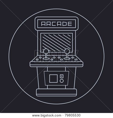 pixel art style simple line drawing of arcade cabinet isolated vintage white item on black
