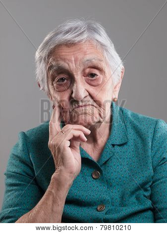 Elderly Woman With Sad Expression