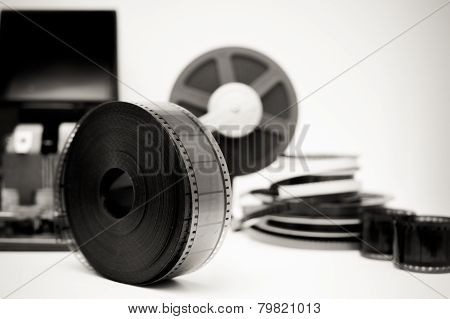 Vintage Movie Editing Desktop In Black And White With 35Mm Reel