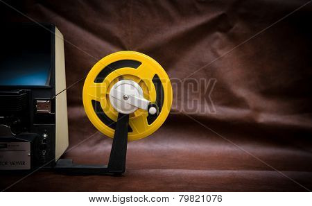 8Mm Movie Editing Desktop With Editing Machine Part And Yellow Reel