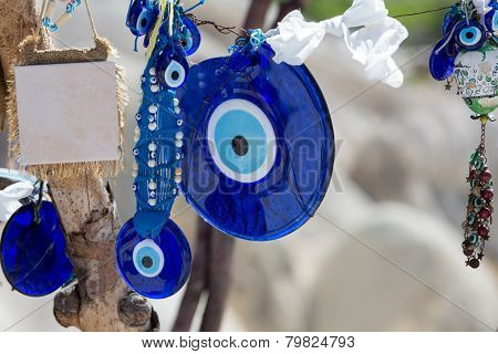 Traditional blue evil eyes. Popular Turkish souvenir.