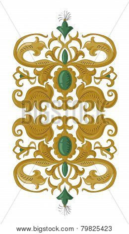 Traditional medieval decorative element on isolated white