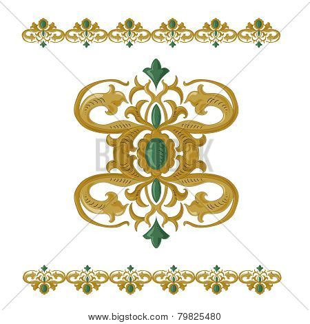 traditional medieval seamless elements on isolated white