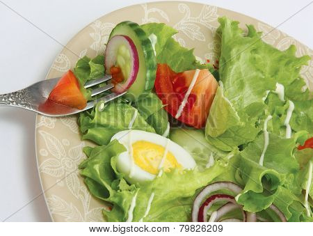 A vegetarian salad and a fork, isolated on grey
