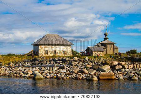 Andrew the First-Called's church Big Zayatsky island Solovki White Sea stone harbor poster