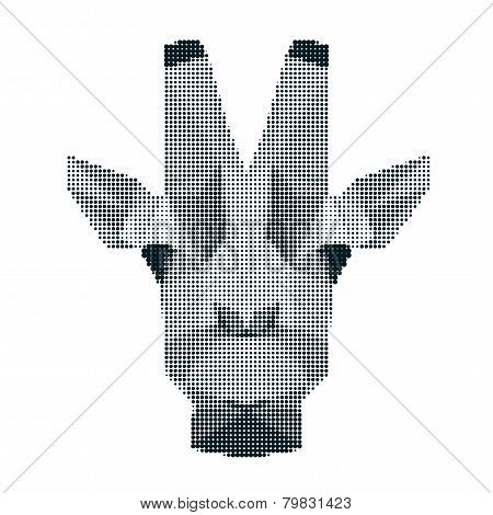 Abstract Monochrome Giraffee Portrait Of Circles Isolated On White Background