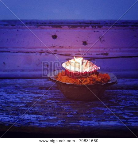 Burning Candle - Offering Candle To Ganges River - Vintage Effect.