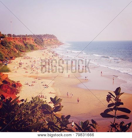 Tropical Beach And Peaceful Ocean - Vintage Filter.
