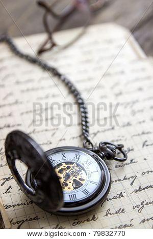 Vintage Pocket Watch On Old Book