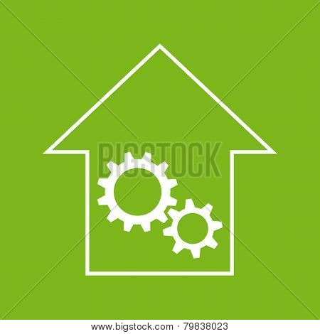 White and green house with gear wheels