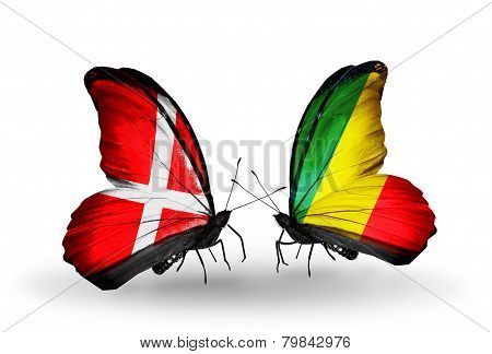 Two Butterflies With Flags On Wings As Symbol Of Relations Denmark And Kongo
