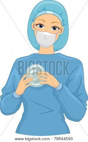 Illustration of a Female Surgeon Holding a Silicone Implant