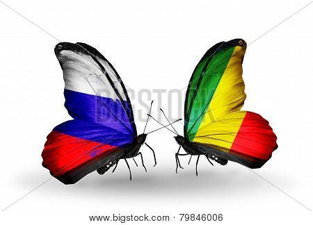 Two Butterflies With Flags On Wings As Symbol Of Relations Russia And Kongo