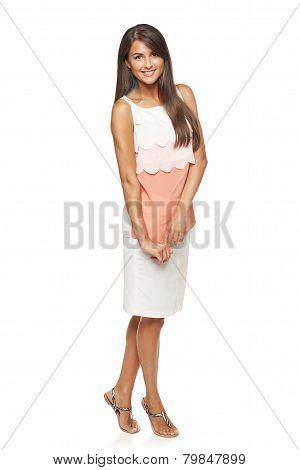 Full length flirty elegant woman in dress