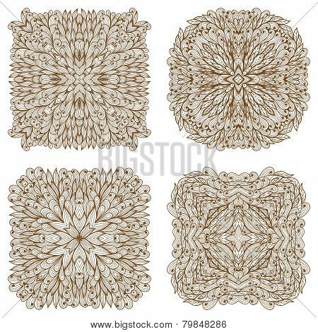Set Of Four Hand Drawn Ethnic Square Mehandi Ornaments