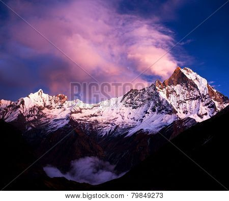 Mount Machapuchare (Fishtail) at sunset, Nepal