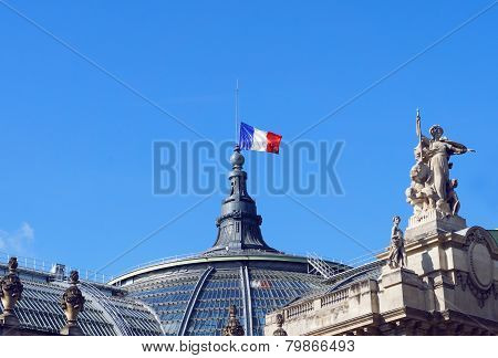 The France flag at the palace roof