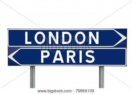 Blue Direction Signs with choice between London or Paris isolated on white background