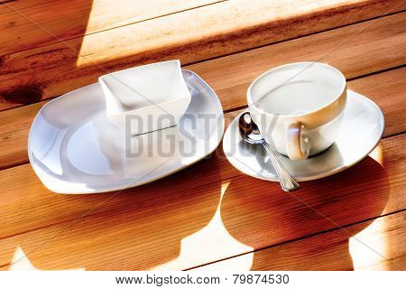 Empty Cup And Dish For Breakfast On Morning Light