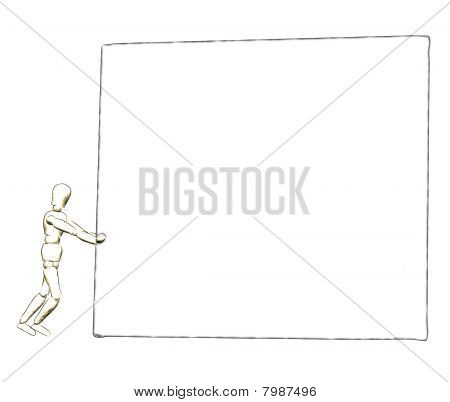 3D design with a person pushing a billboard, Illustration on white background