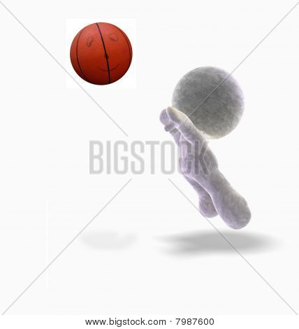 abstract 3D cartoon of a soft toy man throwing a basketball, Illustration on white background