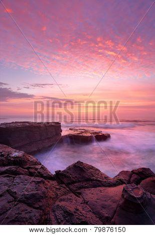 Sunrise North Avoca Beach Rock Shelf
