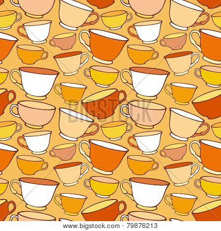 Seamless pattern with decorative cups