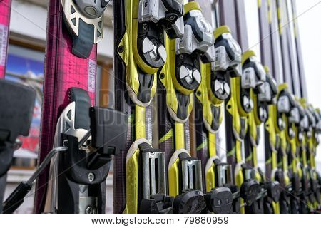Ski Equipment At Falakro Ski Center, In Greece. Visitors Can Rent Or Buy The Equipment.