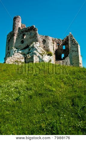 Ruins of medieval Eagle Nest castle in Mirow, Poland poster