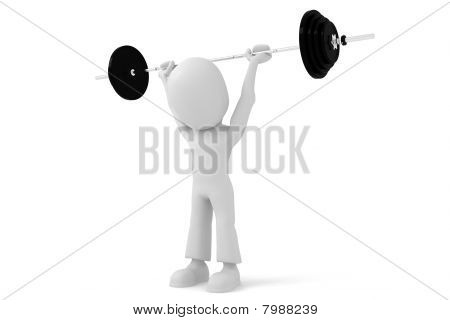 3d man body builder, isolated on white