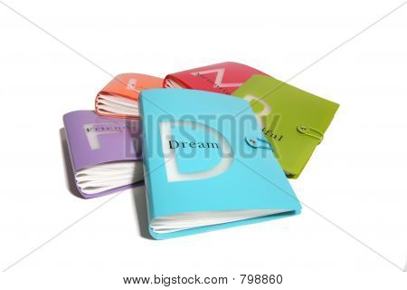 Rainbow color theme books with dream in the foreground poster