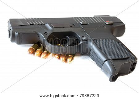 Gun and bullet on white background isolated. poster