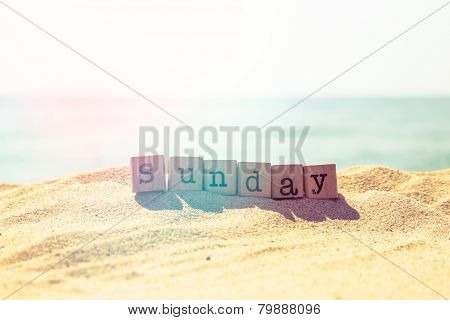 Sunday Word On Sea Beach In Retro Style