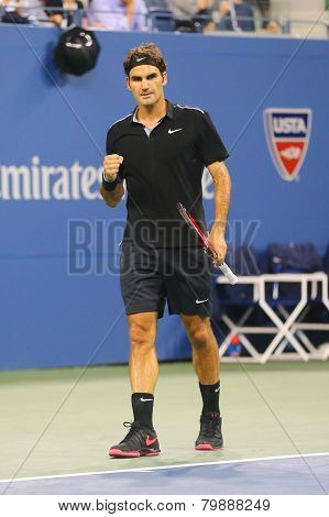 Seventeen times Grand Slam champion Roger Federer during quarterfinal match at US Open 2014