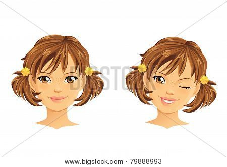 Cute girl with two ponytails winking and smiling