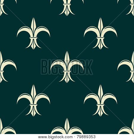 French seamless pattern with fleur de lys flowers