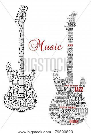 Classic guitars with words and musical notes